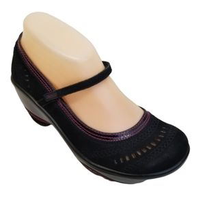 Jambu BRIGHTON 8M Mary Jane Clogs Black Pink Leath